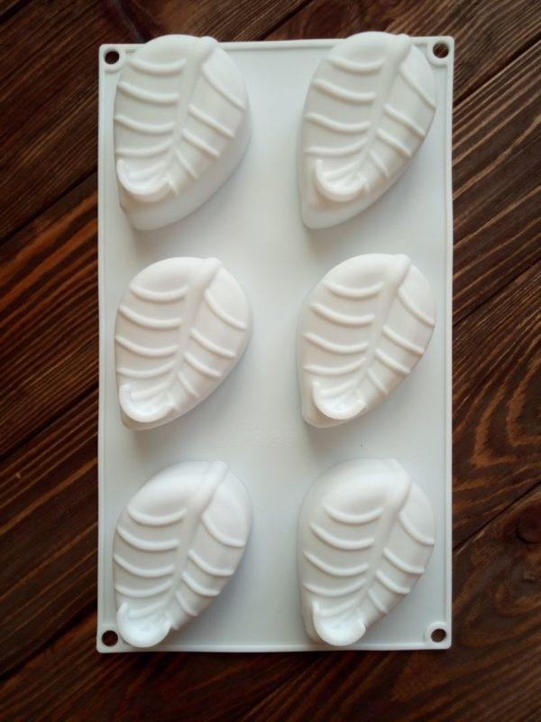 Силиконовая форма для мыла «Листик» 6 шт