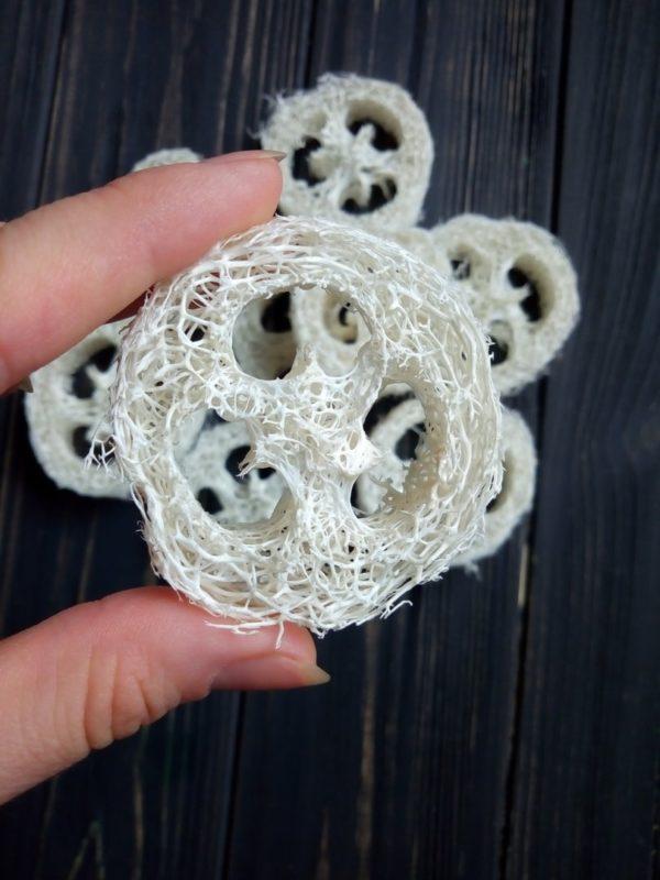 Натуральная мочалка люфа белая 10 см