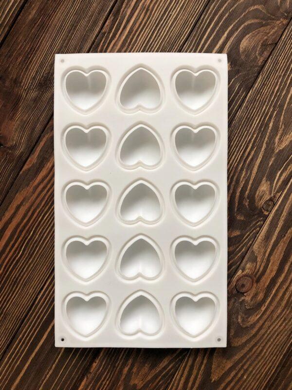 """Силіконова форма для мила (планшет) """"Серця"""" 15 шт"""