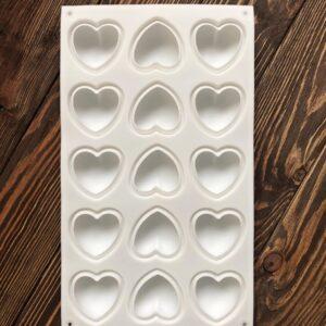 """Форма для мыла силиконовая (планшет) """"Сердечки"""" 15 шт"""