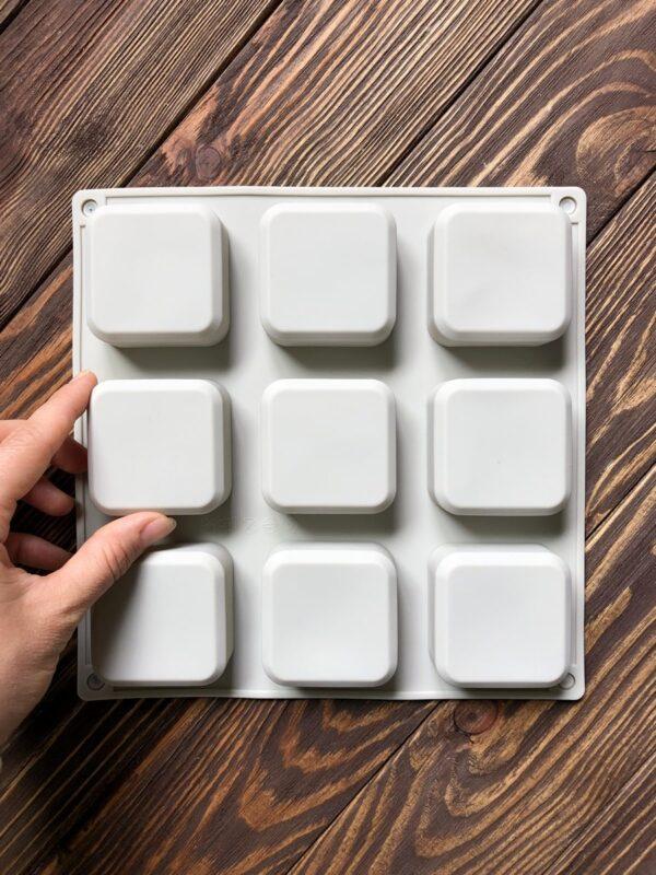 """Форма для мыла силиконовая планшет """"Квадрат"""" 9 шт. скошенные уголки"""