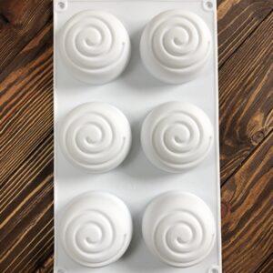 """Форма для мыла силиконовая """"Спираль"""" 6 шт."""